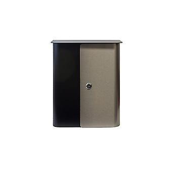 Buzón de bloqueo montado en pared Vista en negro con acero inoxidable