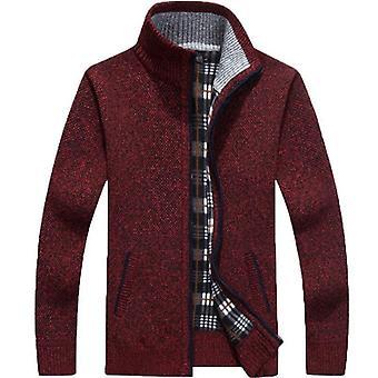 חורף עבה גברים & סוודר סרוג, מעיל שרוול ארוך, קרדיגן גיזת רוכסן מלא,