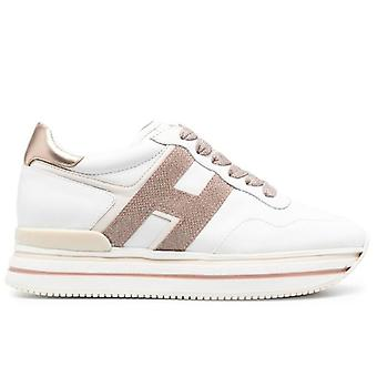 Dames Sneaker Hogan Midi H222 Wit en Roze Leer