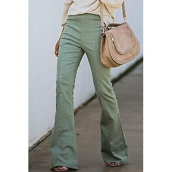 Women's Green High Rise Bell Bottom Denim Pants