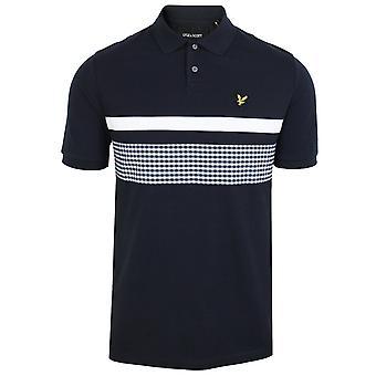 Lyle & scott men's dark navy gingham yoke stripe polo shirt