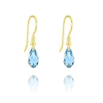 24K kulta akvamarine swarovski kristalli kyynel korvakorut
