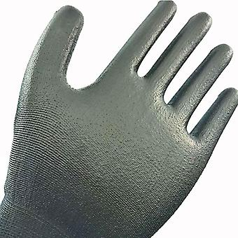 Safety Working Gloves, Black Pu Nylon Cotton-industrial Protective Work Gloves