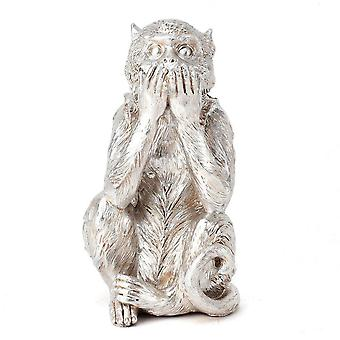 Hestia Silver Resin Monkey - Speak No Evil