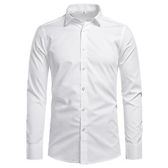 Yunyun Men's Lapel Solid Color Business Long-sleeved Button-down Shirt With Pockets