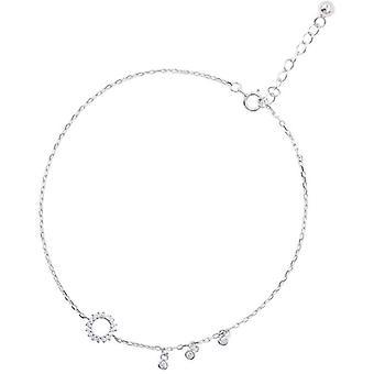 Sterling Silver Fashion Round Circle Zircon Tassel Anklet Bracelet