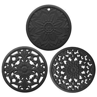 3PCS/Set Silicone Trivet Mat Non Slip Coasters Hot Pot Holder Table Kitchen Hot Pads(black)