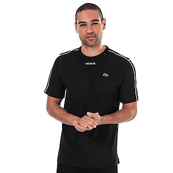 menns lacoste piped-søm t-skjorte i svart