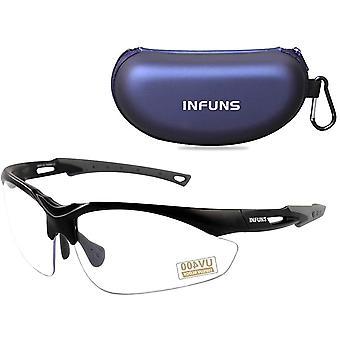 Transparente Anti-Fog-Schutzbrille mit Etui, UV 400, Schutzbrillen mit kratzfester Linse,