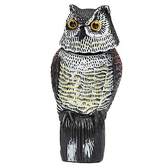 Realistic Owl With Rotating Head and Sound For Garden Yard Bird Repellent Outdoor Pest Control