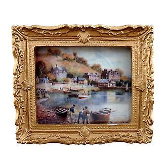 Dolls House Λιμάνι Σκηνή Εικόνα Ζωγραφική Χρυσό Πλαίσιο Μινιατούρα
