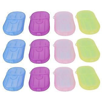 12pcs Boxed Toilet Paper Portable Hand Washing Tablets Small Size Soap Tablets Washing Hand Soap Paper