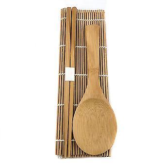 3pcs Bamboo Sushi Making Kit Rice Roll Sushi Mat Chopsticks Spoon