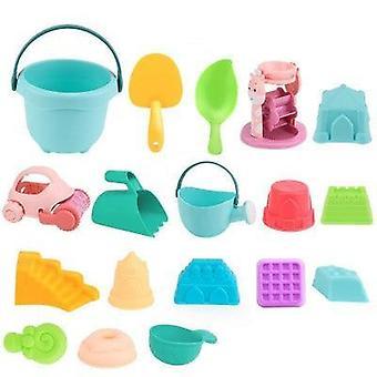 Summer Silicone Soft Baby Beach Bucket, Rake Hourglass Outdoor Play Sand Tool,