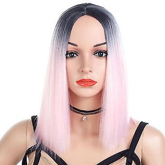 European Beauty Gradient Color Short Straight Hair High Temperature Silk Chemical Fiber Head
