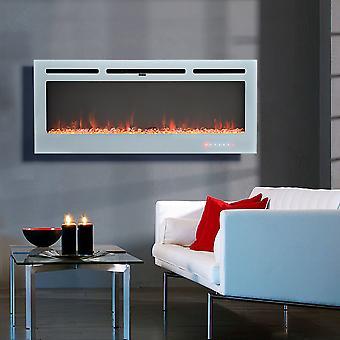12 Flammes LED Cheminée Murale Électrique - Blanc, 40 Pouces