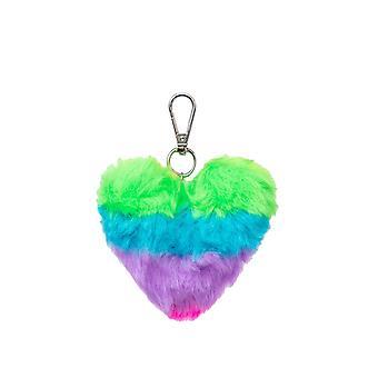 Hype Rainbow Heart Pom Pom Keyring