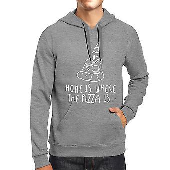 الصفحة الرئيسية حيث البيتزا سيدات Hoodie الرمادية الرسم لطيف لعشاق البيتزا