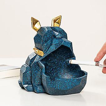 Cenicero de resina Bulldog Caja de almacenamiento de animales Sala de estar Escritorio Decoración del hogar Adornos