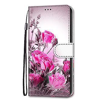 Boîtier pour Samsung Galaxy A12 Peinture Flip Cover Fermeture magnétique Rose