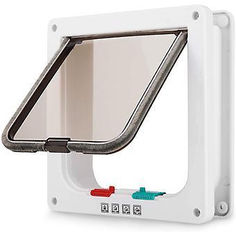 Porte de aileron moyen de chat avec la serrure de 4 manière, kit magnétique de porte d'animal familier blanc