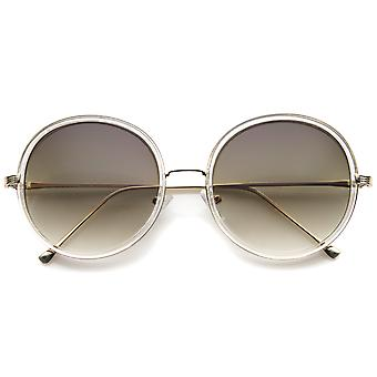 Retro Fashion metaal tempel Two-Tone Oversize ronde zonnebril 53mm