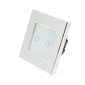 I LumoS Silver Brushed Aluminium 2 Gang 1 Way Touch LED Light Switch White Insert