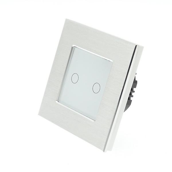 I LumoS Silver Brushed Aluminium 2 Gang 1 Way Remote & Dimmer Touch LED Light Switch White Insert