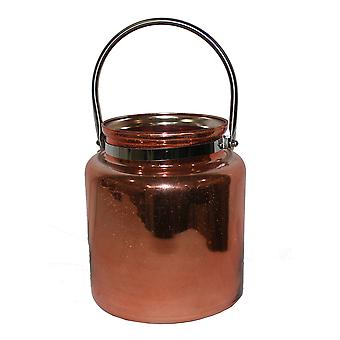 Copper Finished Glass Candle Lantern With Metal Handle 8 1/2 Inches Tall