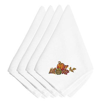 Acción de gracias corredera bordados servilletas juego de 4