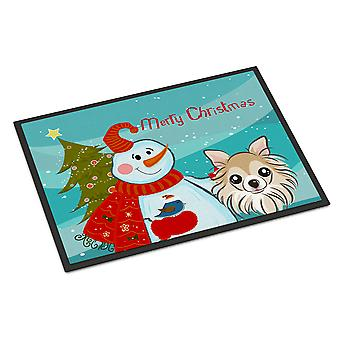 Sneeuwpop met Chihuahua Indoor of Outdoor Mat 24 x 36