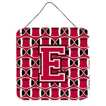 Buchstabe E Fußball Crimson und weiße Wand oder Tür hängen Drucke