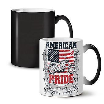 American Pride Biker NEW Black Colour Changing Tea Coffee Ceramic Mug 11 oz | Wellcoda