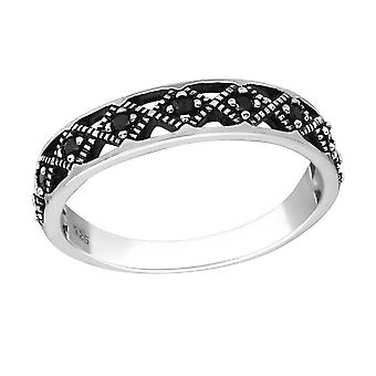 Patterned - 925 Sterling Silver Jewelled Rings - W35650X