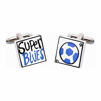 Botões de punho super Blues por Sonia Spencer, na apresentação de caixa de presente. Pintados à mão