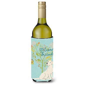 Welcome Friends Yellow Labrador Retriever Wine Bottle Beverge Insulator Hugger