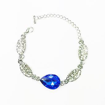 Kvinna Armband Silver Mörk blå sten Teardrop Leaf