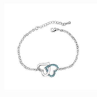 Womens Double Heart Intertwined Love Bracelet Sky Blue Crystal Stones