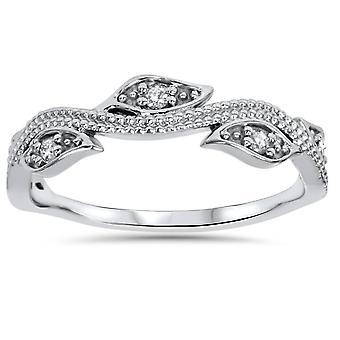 1 / 10ct Vintage kwiatowy liść Diamentowe wesele pierścionek 14K białe złoto