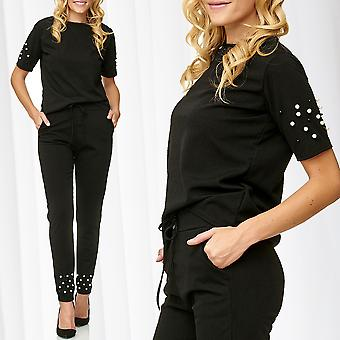 Ladies Suit Combination Set T-Shirt Pants Pearl Riveted Casual Streetwear Black