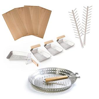 Grill set: Grill boards Grill skewers Grill Pan pans