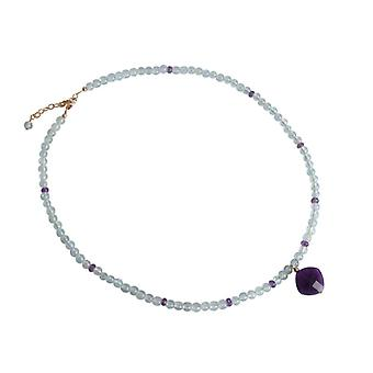 Aquamarine and Amethyst necklace gemstones gold plated