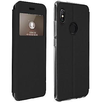 Vinduet flip sag, flip tegnebog sag med stativ til Xiaomi Redmi Note 5 - sort