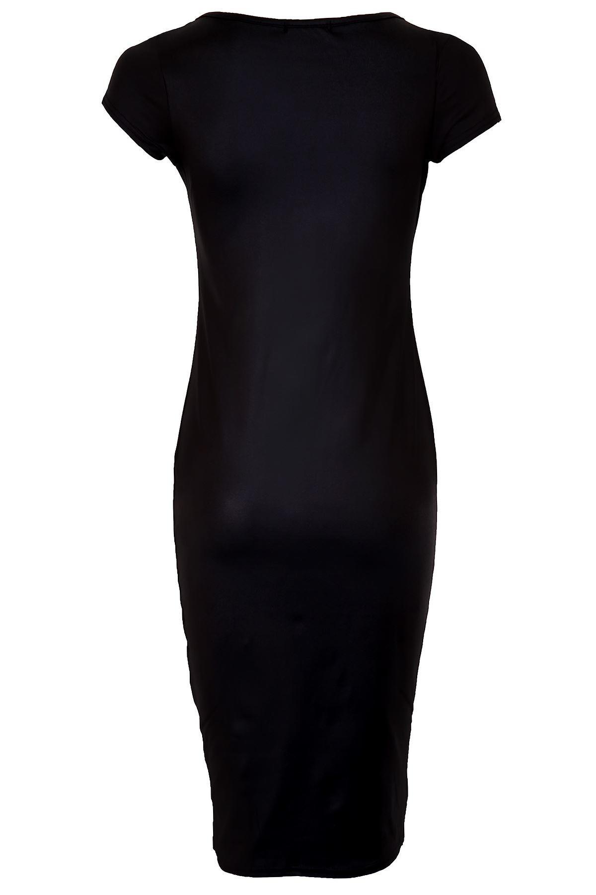 Ladies Cap Sleeve Celeb Nicole Inspired Wet Look Women's Bodycon Midi Dress