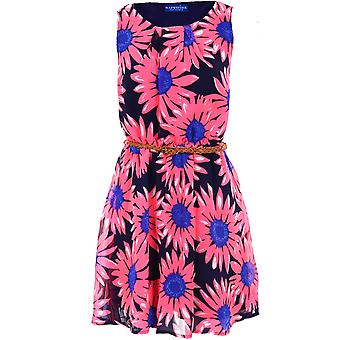 New Womens Chiffon Pleated Belted Sexy Skater Sleeveless Ladies Mini Dress