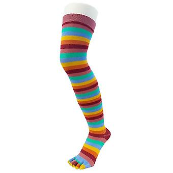 TOETOE essentiële Over de knie gestreepte sokken - weide rood/blauw/oranje