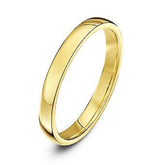 Tähti vihkisormuksista 18ct keltainen Gold valo tuomioistuin muoto 2,5 mm vihkisormus