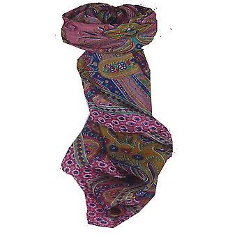 Foulard carré de soie traditionnel de mûrier Ami Cerise & Blue de Pashmina & soie