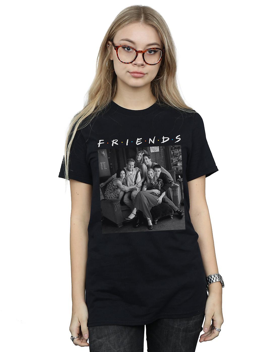 Friends Women's Black And White Photo Boyfriend Fit T-Shirt