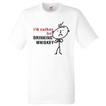 Mężczyźni, wolałbym być picie whisky biały Tshirt